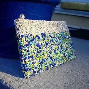 Cobalt and Teal Hand Beaded Clutch